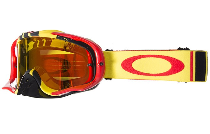 MASCHERA OAKLEY CROWBAR MX PINNED RACE YELLOW RED IRID FIRE + CLEAR