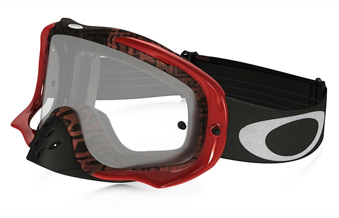 MASCHERA OAKLEY CROWBAR MX DISTRESS TAGLINE RED / PURPLE LENTI CHIARE