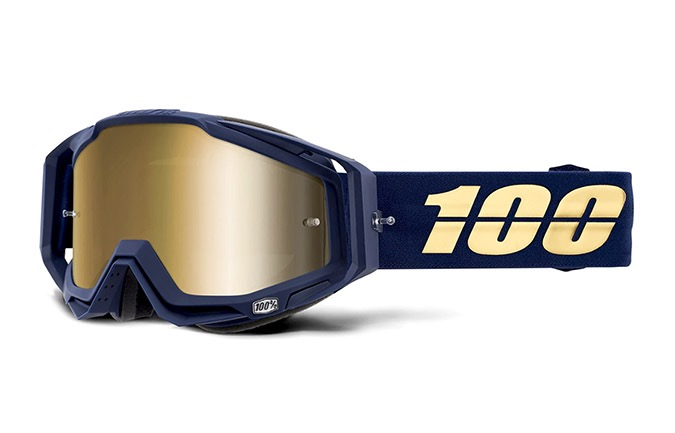 MASCHERA 100% RACECRAFT BAKKEN - MIRROR TRUE GOLD LENS 2020