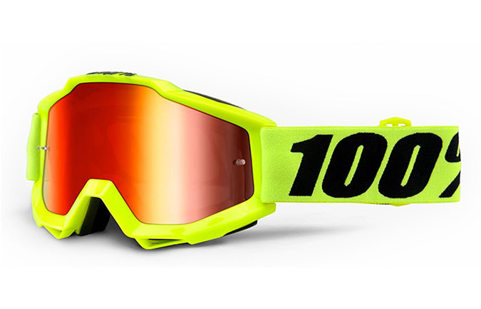 100% ACCURI GOGGLE FLURO YELLOW - RED MIRROR LENS 2020